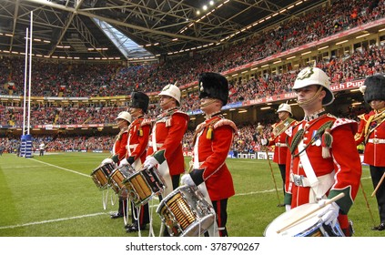CARDIFF, WALES-FEBRUARY 23, 2008: wales royal marching band performs during the Six Nations rugby match Wales vs Italy at the Millennium stadium, in Cardiff.