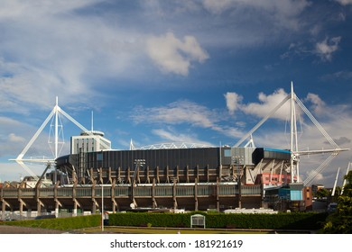CARDIFF-JULY 16, 2010,ENGLAND:Exterior of the Millennium Stadium in Cardiff, Wales. The Millennium Stadium has the largest capacity of any stadium in Wales with 74,500 seats.