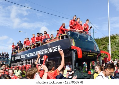 Cardiff,UK, July 08th  2016.The Welsh football team have received a heroes' welcome in Cardiff after their historic run at the Euro Football championship after reaching semi-finals in France 2016.