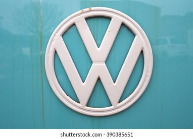 Cardiff,Wales,UK-February 27,2016: close up of front side of an old Volkswagen Transporter van parked on a street of Cardiff on February 27,2016