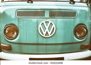 Cardiff,Wales,UK-February 27,2016: close up of front side of an old Volkswagen Transporter van parked on a street of Cardiff on February 27,2016. Vintage effect added