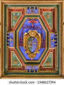 Cardinal Giulio Antonio Santori coat of arms in the Church of San Girolamo della Carità in Rome, Italy. March-24-2019