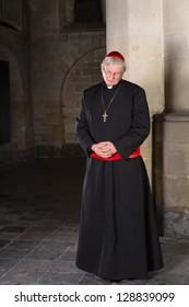 Cardinal standing against a pillar in his medieval 14th century church