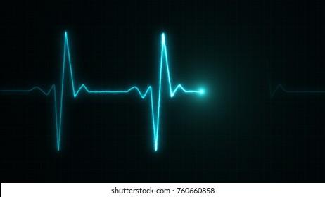 Cardiogram cardiograph oscilloscope screen blue illustration background