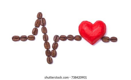 Cardiogram of coffee beans and heart. Coffee Kills Your Heart