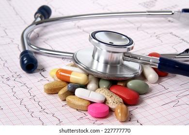 Cardiogram ekg and spilled tablets.Medical concept