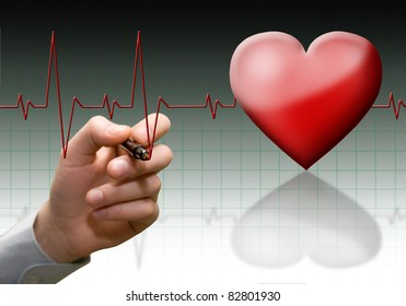 Cardiogram on fones gradient mirror