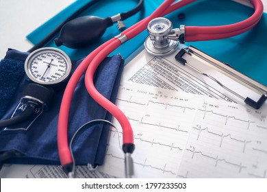 Cardiogram pulse trace, stethoscope and sphygmomanometer concept for cardiovascular medical exam and health check