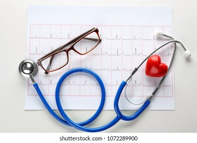 Cardiogram with stethoscope and eyeglasses on white background