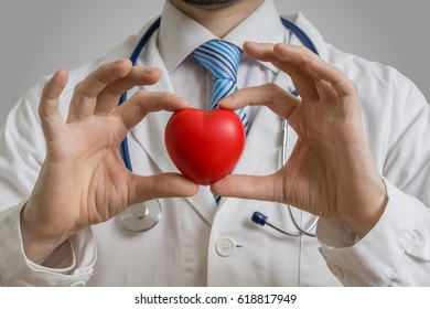 Cardiologist doctor is showing red heart.