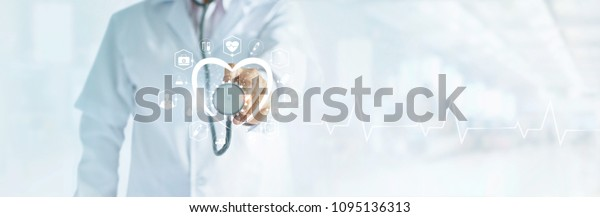 Cardiologist doctor with stethoscope in hand toching medical icon network connection on modern virtual screen networking inerface, medical technology and patient concept, blank text