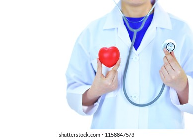 Cardiologist holding heart in hand, heart care concept, white background