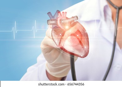 Cardiologist listens to the heart on virtual screen.