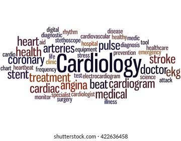 Cardiology, word cloud concept on white background.
