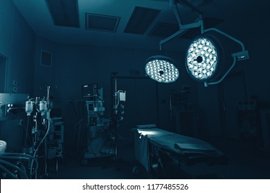 cardiovascular surgery operation room with team surgeons in surgery center for interventions with instruments for microsurgery with electrosurgery doing minimal invasive open heart surgery