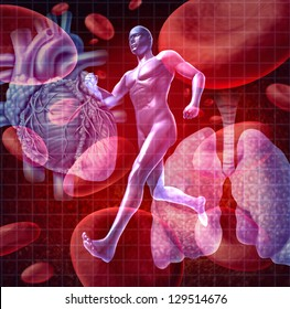 Cardiovascular system as a health care and medical concept with a human heart and lungs on red blood cells and an athlete runner as a physical fitness symbol for a healthy lifestyle.