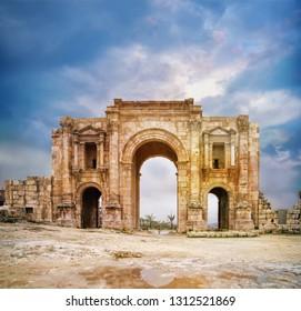 Cardo Maximus. Ancient Roman city of Gerasa of Antiquity, modern Jerash, Jordan
