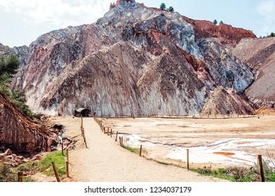 Cardona, Spain. Entrance to Salt cave in an old mine . Cardona's Salt Mountain Cultural Park.  Muntanya de Sal.