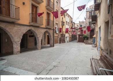CARDONA,SPAIN-SEPTEMBER 4,2014:Ancient street in historic center of medieval village of Cardona, Catalonia.