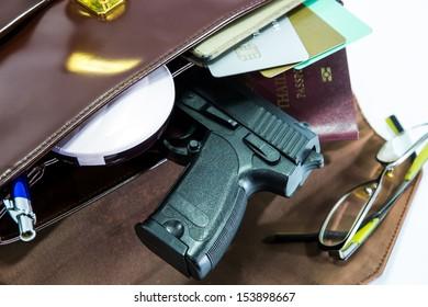 Card,passport and gun in Woman's bag