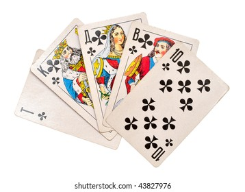 cards from ace to ten isolated on white