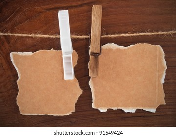 Cards with clothespins on the rope