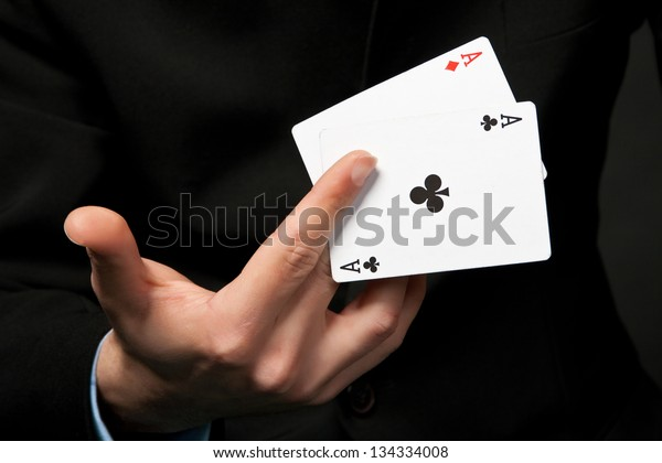 Cards Hand Lucky Gambler Stock Photo (Edit Now) 134334008