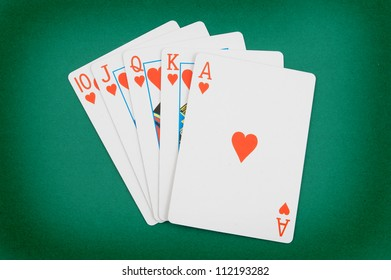 Cards on green table