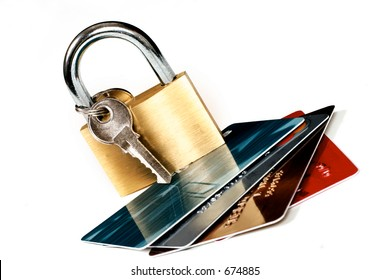 Cards and padlock online banking, credit card transactions, trading, protection, fraud, identity theft, etc.