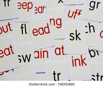 Cards with random phonics - children's learning aid.