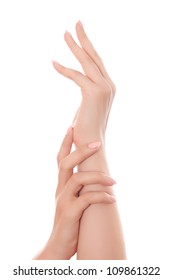 care for beautiful woman hands isolated