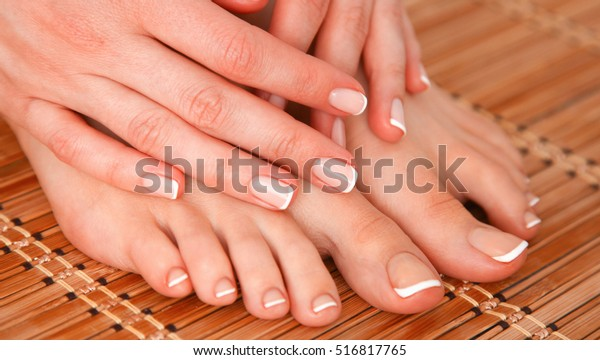 Care for beautiful woman legs and hands