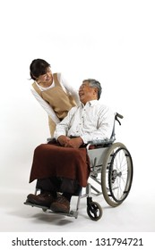 Care for elderly people and women in wheelchairs