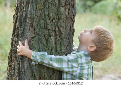 care for nature - little boy embrace a tree