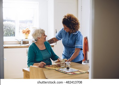 Care worker giving an old lady her dinner in her home.