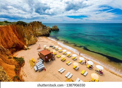 Careanos Beach (Praia dos Careanos) in Portimao, Algarve, Portugal. Concept for travel in Portugal and summer vacations in Portimao, Algarve, Portugal.