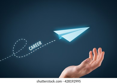 Career acceleration concept, personal development, personal growth. Paper plane representing dreaming about career and hand touching this dream comes true.