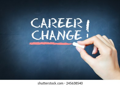 career change text on a blackboard