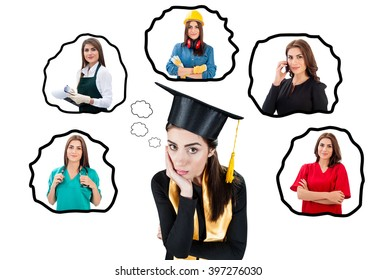 Career choice options over white isolated background.