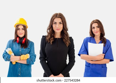 Career choice options. Same woman poses as doctor, businesswoman, constructor engineer.