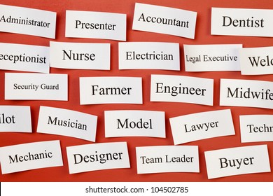 Career choices on a board, concept for choosing career, recruitment, situation vacant.