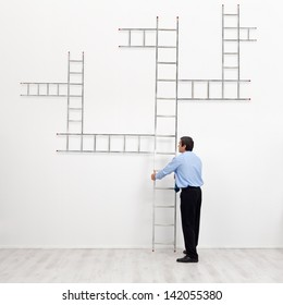 Career choices and opportunities concept - businessman with branched ladder