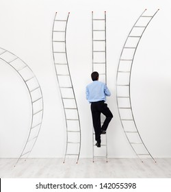 Career choices and opportunities concept - businessman climbing the right ladder
