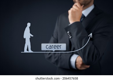 Career concept - human resources officer (HR, personnel) supervise employees career growth.