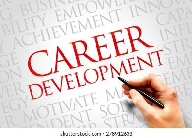 Career development word cloud, business concept