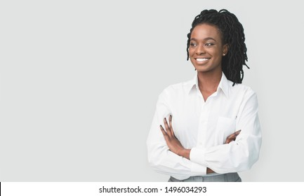 Career Girl. African American Businesswoman Posing Crossing Hands On White Background. Free Space For Text