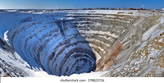 "Career kimberlite diamond pipe ""Mir"", Yakutia, Russia. The mine is 525 meters (1,722 ft) deep (4th in the world) and has a diameter of 1,200 m (3,900 ft). Opened 1957. Closed 2004. Company - Alrosa."