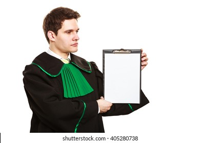 Career and legal advice. Young male lawyer hold clipboard files show advice and help. Blank copy space for text