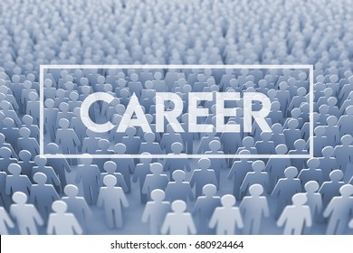 Career opportunity. Large group of stick figure people. 3D Rendering