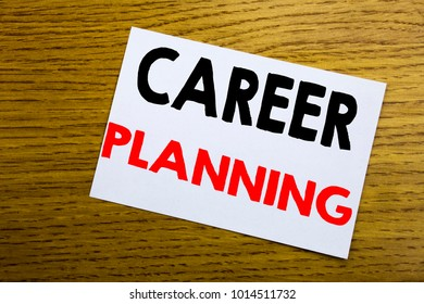 Career Planning. Business concept for Business Growth Goal Setting written on sticky note, wooden background with copy space.